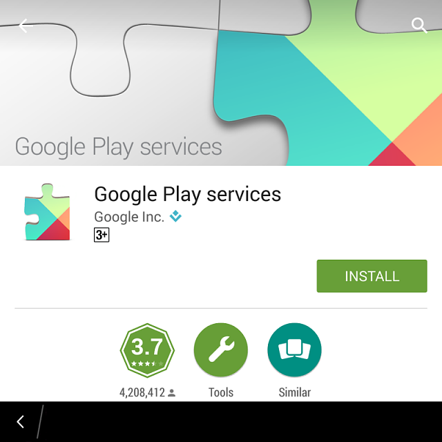 an application requires an update for google play services