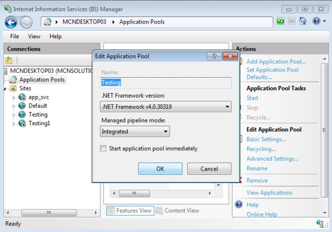 how to host asp net application in iis