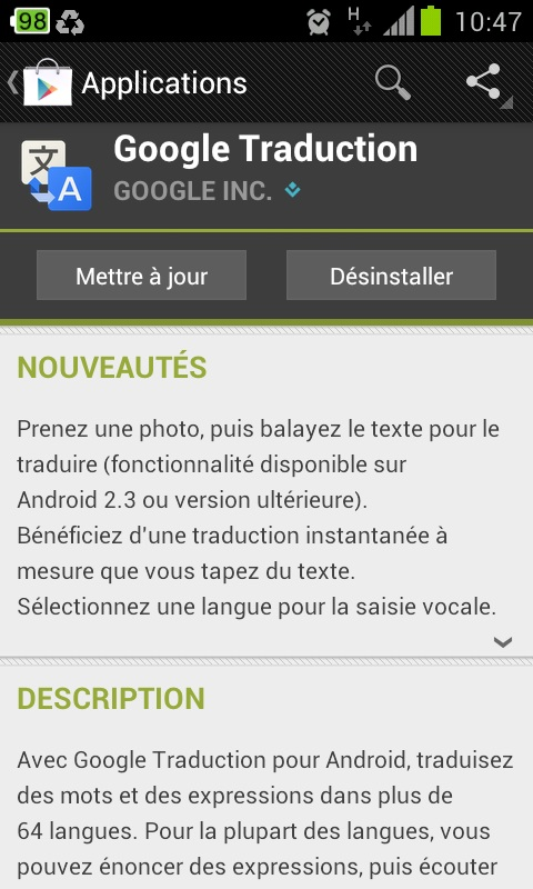 application pour changer la langue android