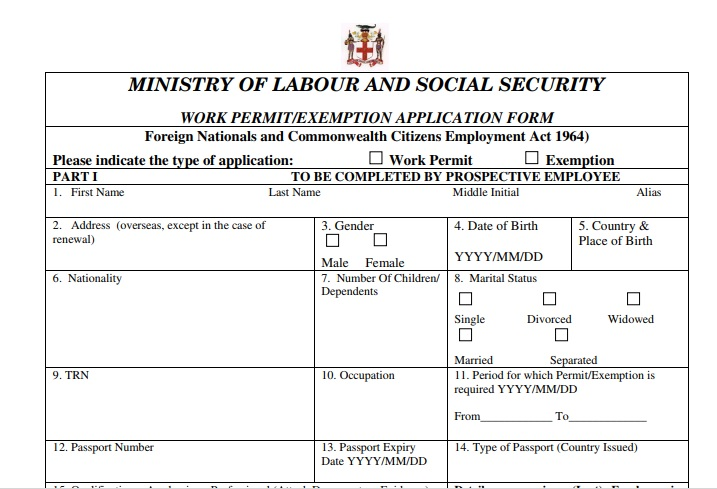 canadian visa application form jamaica