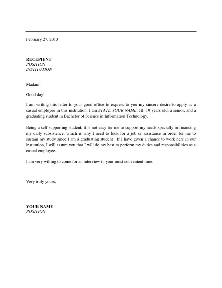 sample application letter for promotion in government