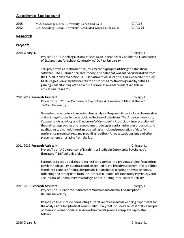 sample academic cv for phd application
