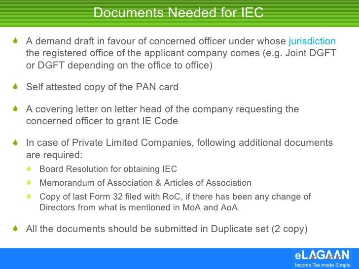 documents required for iec application