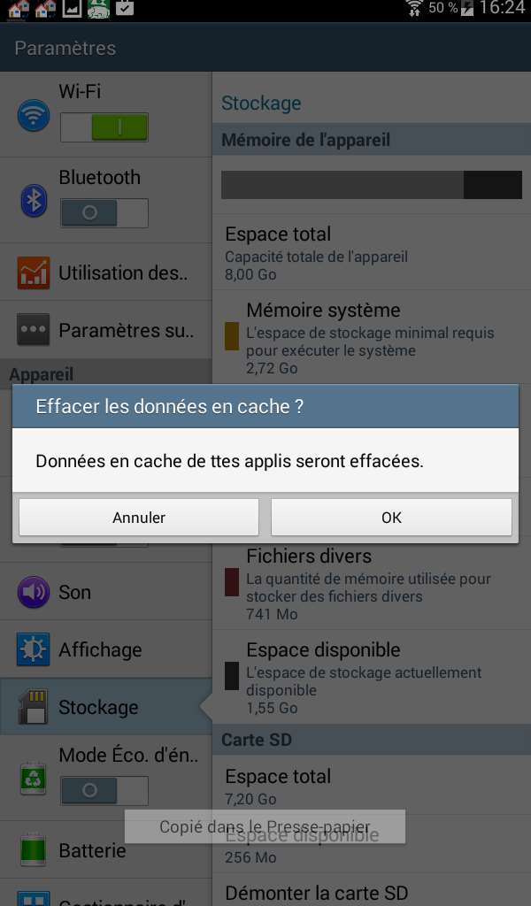 vider le cache des applications android