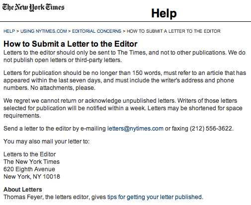 how to write an application to the newspaper editor