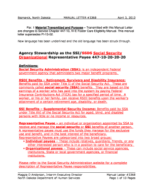 social security representative payee application