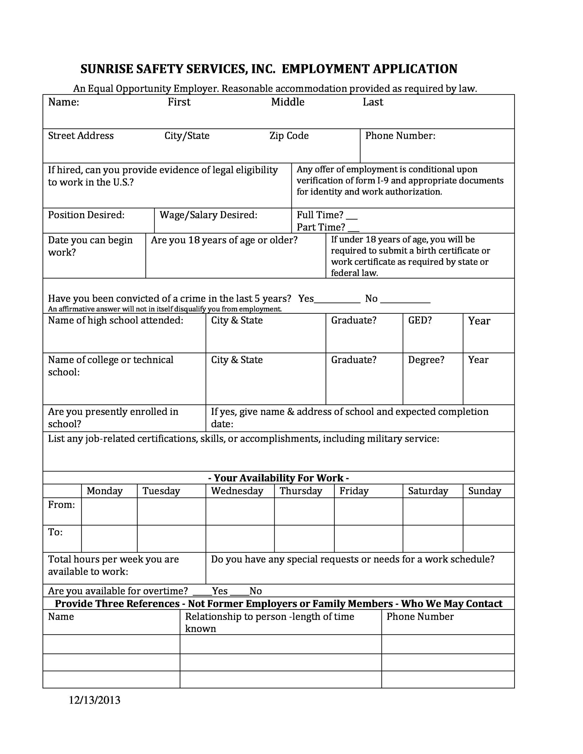 what is employment application form